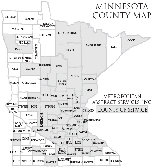 Title Search By Minnesota County Abstract Services County Search - County map of minnesota